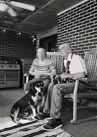 old couple with a dog